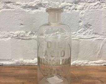 Antique Dil Acid Hydrochloric Lab Bottle