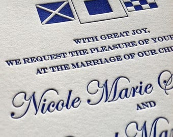 Nautical Wedding Invitations, Letterpress