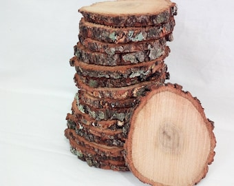 "10 slices of rustic wood Tree Slice of decoration Rustic wedding 4"" Round wooden disks"
