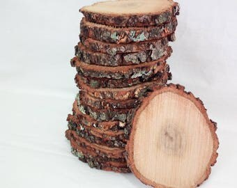 "10 slices of rustic wood Choose your diameter Tree Slice of decoration Rustic wedding 4"" Round wooden disks"