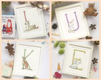 "Custom Animal Alphabet Name set of prints. Individually mounted letters 8""x10"" Personalised for any name"