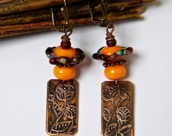 PROMOTION-20% - stud earring, rustic earrings, copper engraved and punched, glass beads, orange, copper