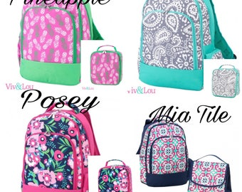 Pineapple Backpack ~ Parker Paisley Backpack ~ Mia Tile Backpack ~ Posey Backpack ~Lunchbox ~ Back 2 School ~ Free Embroidery