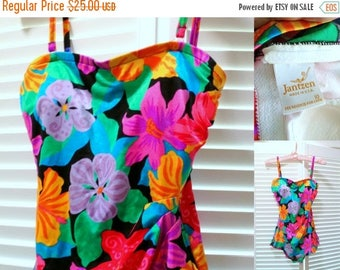 48-HR SALE 70s JANZTEN Swim Suit - Colorful Tropical Print - One Piece - Skirted Front - Maillot - Xs