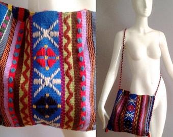 SALE 25% Off Vintage Boho Hippie Huipil Hand Embroidered Ethnic Bag ~ Native Guatemalan Wool Purse ~Crossbody Festival Sac ~ Fringe Tassel T