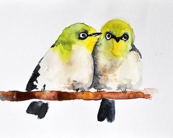 PRINT Of Watercolor Bird Painting, Romantic Birds On A Branch, Green Birds 6x8 Inch