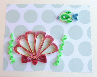 Greeting Card, Quilled Card, Birthday Card, Quilling, Seascape, Handmade Greeting Card, Quilled Card, Beach Lover Card