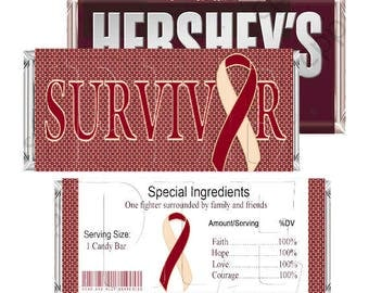 Head and Neck Cancer Candy Wrappers,Survivor Wrappers,Awareness parties,DIY Printable, Digital Download, Hershey Candy Bar Wrapper,Printable