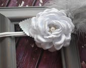 Plush white flower with  silver feathers christening bow - Baby / Toddler / Kids Elastic Hairclip / Hair Barrette / Hairband / Headband