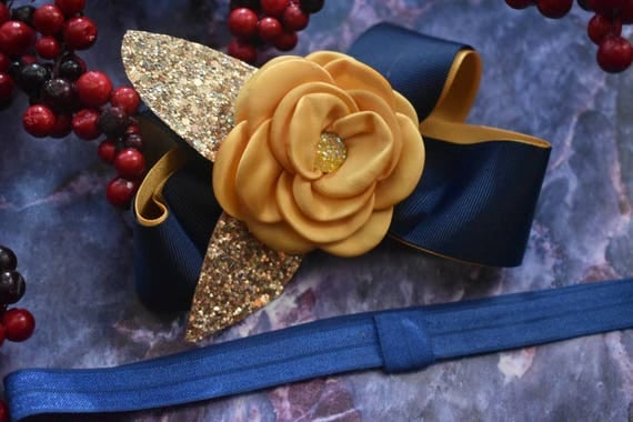 Festive yellow gold and navy Bow - Baby / Toddler / Girls / Kids Headband / Hairband / Hair bow / Barrette / Hairclip /Christmas