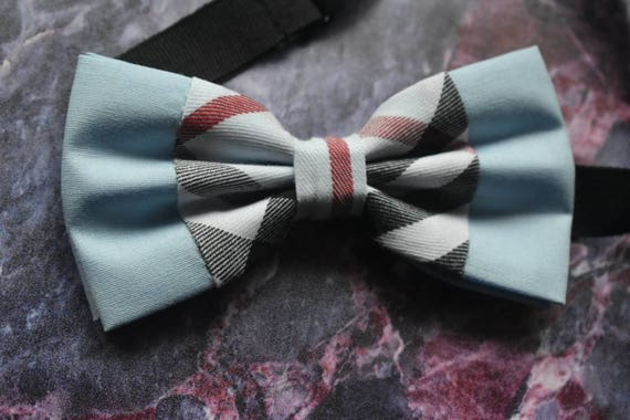 Kids Light Blue Tartan / Plaid Bow Tie  for Baby, Toddlers and Boys with Braces / Suspenders