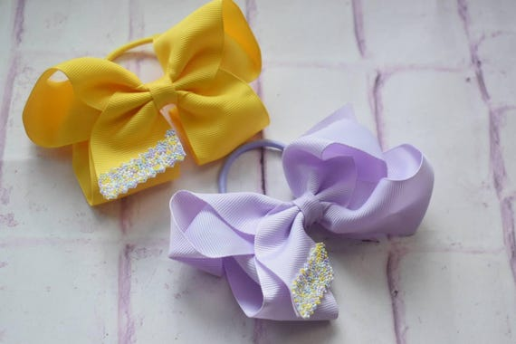 Pair of Yellow and Lilac Grosgrain Bow  Hair Ties - Kids / Toddlers / Girl pony tail holders / scrunchies / Flowergirls bow / Hairbands