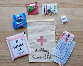 10 x Wedding Survival Kit Muslin Favour Bags Script
