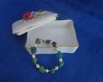 Western Wedding Bracelet,Tumbled Turquoise Nugget Bead Bracelet,Turquoise and Pearl Bracelet,Turquoise Bracelet,Wedding Bracelet