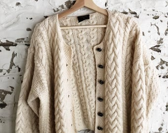 vintage wool cable knit fisherman cardigan