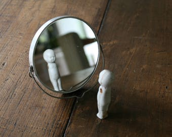 Little Metal Shaving Mirror on Stand Double-Sided Magnifying Looking Glass