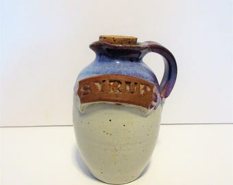 Pottery Maple Syrup Pitcher with Cork Blue Purple White Handmade