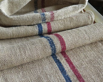 """Exchange rate to EUR very cheap! Vintage farmers Cereal flour canvas bag """"Web stripes in blue and red"""" ideal as a carpet runner.."""