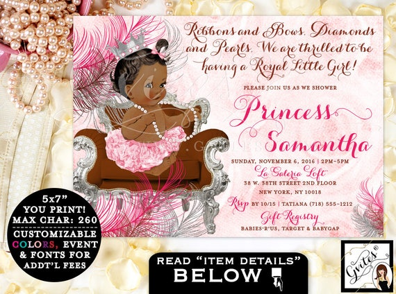 Princess BABY SHOWER invitation, African American Invitations, ribbons bows diamonds pearls, royal baby girl, pink and silver. PRINTABLE.