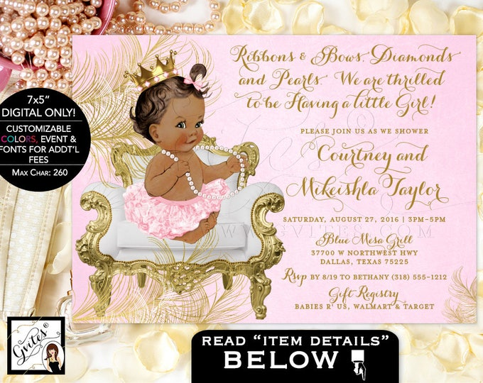 African American princess baby shower, Pink and Gold Baby shower invitations, gold pink white, girl tutu invite. Digital File 7x5""