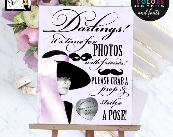Breakfast at Tiffany's photo booth, party signs, Hepburn birthday, bridal shower, printable customizable colors fonts 8x10, DIGITAL FILE!