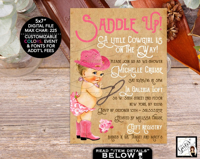 Cowgirl baby shower invitation, saddle up invite, cowgirl baby invitations, pink and beige, vintage, farm country printables. DIGITAL 5x7