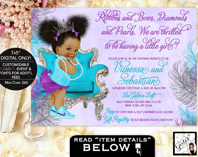 Purple silver and turquoise baby shower invitations, tiara baby girl, afro puffs, ribbons bows, diamonds and pearls. DIGITAL FILE ONLY! 7x5""