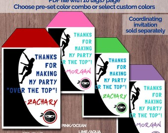 Ninja Warrior Birthday Party Favor Tags Thank You Obstacle Course Ninja Warrior Invitation Ninja Party Bag Topper Decorations Warped Wall