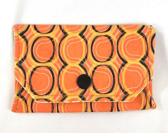 Orange geometric snap wallet // notions pouch // slim pouch // slim wallet // coin purse // gift card holder // pill box // origami wallet