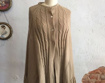 Vtg Shawl Sweater Cardigan Glentex Acrylic 60s button front Fringed Tan Cable