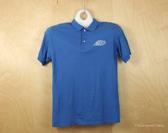 SCREEN STARS Polo Shirt Vintage Corvallis Mountain Rescue Blue Cotton Short Sleeve 90's Men's M Medium