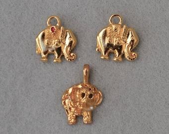 Lot of Three Gold Tone Elephant Charms