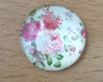 pretty flower bouquet 01 pattern glass cabochon pendant