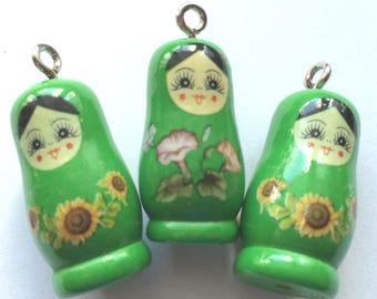charm green matryoshka wooden for customization