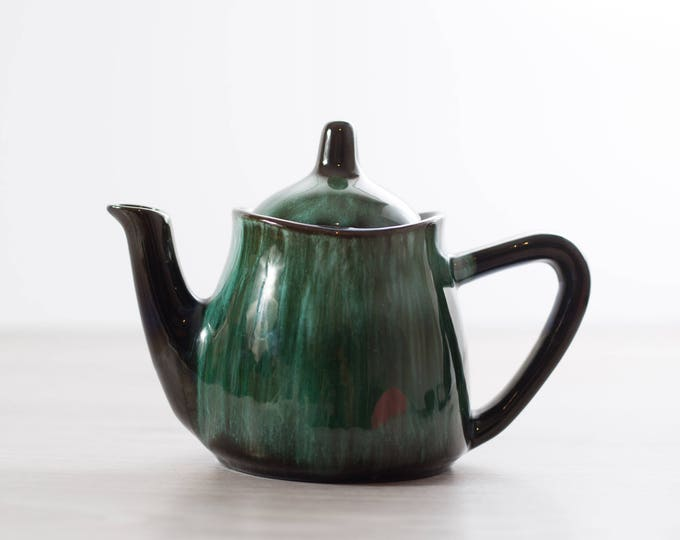Vintage Teapot / Ceramic Blue Mountain Pottery Emerald Marble Green and Black Coffee Pot / Boho Earthtone Terracotta Tea Pot  Made in Canada