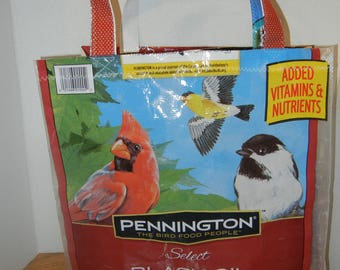 Attention Bird Lovers! Colorful Birds MARKET TOTE made from Bird Seed Bag w/ Velcro closure, Sturdy, Durable, Waterproof!