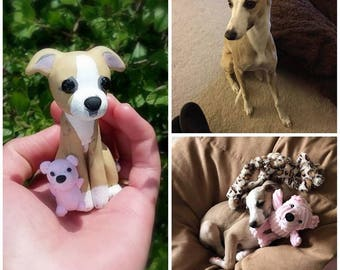 Your Dog - Custom Pet Dog Portrait Clay Sculpture Ornament - Puppy Whippet Lover Gift - Made to Order