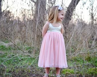 Girls Dress - Flower Girl Dress - Party Dress - Chiffon Dress - Girls Fancy Dress - Pink & Gold Dress - Princess Dress - Toddler Dress