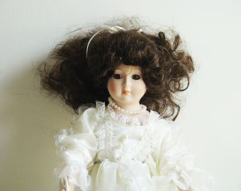 "Vintage Collectible 18"" Porcelain Doll White Victorian Dress Lace Umbrella Genuine Fine Bisque Porcelain With stand"