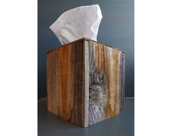 Rustic Reclaimed Barn Wood Tissue Box Cover for square tissue boxes.
