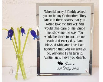 Godmother * Godfather Personalised Poem Glass Plaque