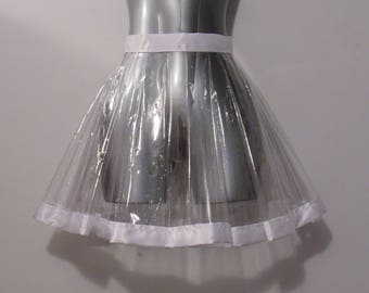 Pleated Transparent PVC Skirt with Customizable Trim
