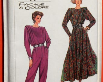 Vintage jumpsuit and dress pattern Simplicity 8281 Easy to sew 1980's dress and jumpsuit pattern Uncut Sizes 10, 12 and 14