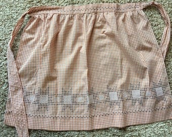 Vintage Light Brown Gingham Check Half Apron With Cross Stitch