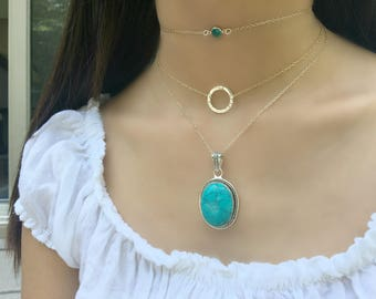 Turquoise Necklace Turquoise Jewelry Turquoise Pendant Multi strand Necklace Eternity Necklace Circle Necklace Swarovski Birthstone Necklace