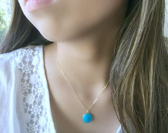 turquoise pendant necklace turquoise jewelry turquoise gemstone necklace layering necklace 14k gold filled 24k gold electroplated boho beach