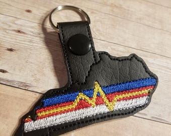 Kentucky First Responders Fob - In The Hoop - Snap/Rivet Key Fob - DIGITAL Embroidery Design
