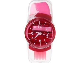 X 1 fuchsia wristwatch size Pencil + Eraser + brush kawaii