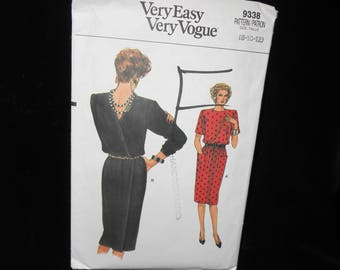 Misses Dress Pattern Vogue 9338 Womens Size 8 10 12 Dress Back Wrap