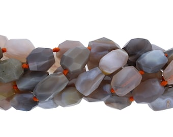 Botswana Agate Beads, 1 Strand, 15x19mm Faceted Beads, Wire Bangles, Wholesale Beads